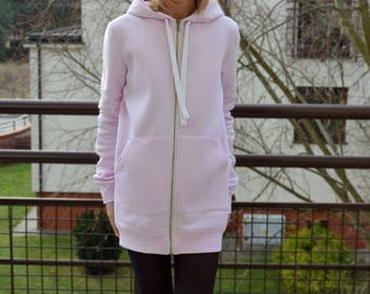 CHLOE - women's zip-up hoodie / sweatshirt and large kangaroo pocket / 4 colours / Long hoodie / tunic hoodie / Handmade Sisters