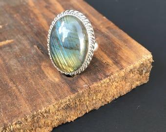 Oval Gemstone Ring - Labradorite - Silver Ring
