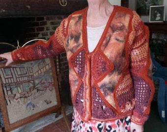 Autumn Crochet and Merino Handmade Felt Jacket