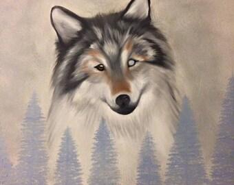 Wolf Wildlife Oil Painting