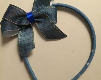 Blue denim bow headband