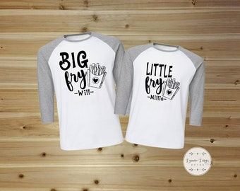 Personalized Father and Son Matching Shirts, Him and Her Shirt Set Big Fry, Little Fry, Father and Son Shirts, Brother and Sister Matching
