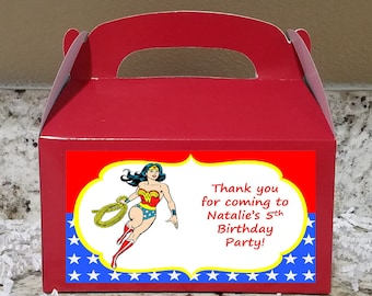 Sale! 12 Wonder Woman Boxes, Wonder Woman Gable Boxes, Wonder Woman Candy Boxes, Wonder Woman Party Boxes