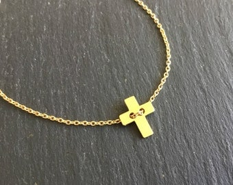 Bracelet gold plated sliding cross