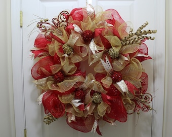 Red and Gold Deco Mesh Wreath | Christmas Deco Mesh Wreath | Holiday Wreath