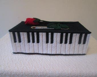 Piano Rose Needlepoint Tissue Box Cover