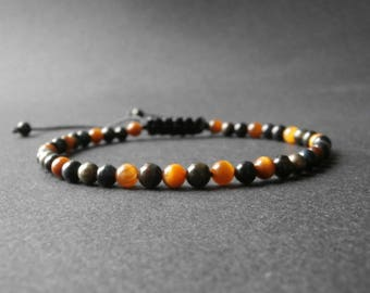 Men's bracelet with natural stones, pyrite, Rod eye and Hawk Eye