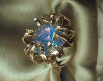 Vintage Sarah Coventry Mystic Blue Statement Ring