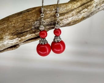 Parts and red stones earrings stainless metal