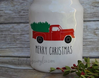 Decal Only~Farmhouse Vintage Red Truck Vinyl Decal~Rae Dunn Decal~Kitchen Decor~Farmhouse Christmas Decor~Rae Dunn Christmas~Christmas Decal