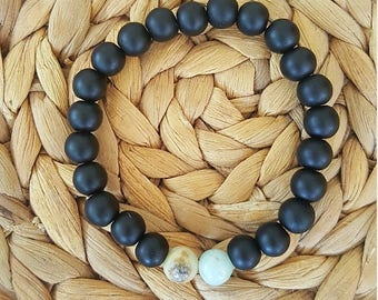 Beautiful bracelet for woman or man made of ONYX and AMAZONITE gemstones