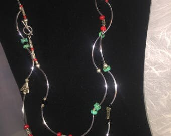 Silver and turquoise double necklace
