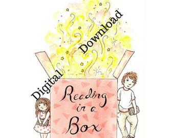 Reading in a Box Print - digital - hand drawn - Kids Book Club