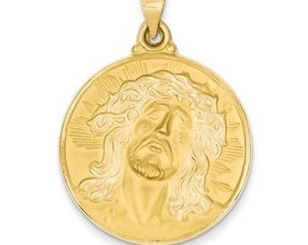 14k Yellow Gold Head of Jesus Medal Pendant