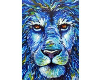 Blue Lion, King of animals, unique and original painting, signed, decor
