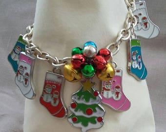 Christmas tree and stockings charm bracelet