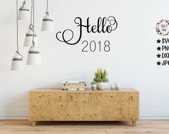 New Years Svg, Hello 2018 SVG, New Years Cut File, 2018, New Years Iron On, Jpg, Svg, Dxf, Png, Cricut, Silhouette, Cut Files, New Years Eve