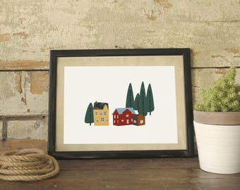 My lovely neighborwood | Digital Print | Nordic village illustration | Printable illustration