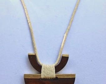 Geometric shaped, wooden pendant necklace