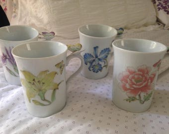 Set of Four Hand-painted Flower and Butterfly China Cups