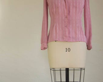 80's Mauve Nicola Long Sleeve Blouse