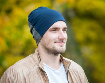 Men's slouchy beanie hat Unisex slouchy jersey beanie hat Men scull hat Navy blue/gray beanie hat Hat for men Cotton lining hat Men beanie