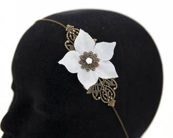 Vintage white wedding flower #1415 headband headband