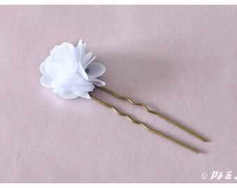 #0927 chiffon white flower Bobby pin