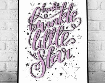Twinkle Twinkle Little Star - A4 Hand Lettering Art Print // home decor, typography, hand lettering