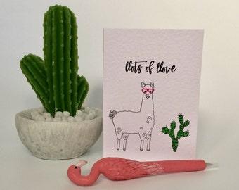 """Llama """"llots of llove"""" Birthday Card (HB27)"""