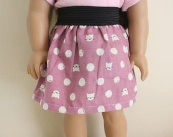 Purple Cat Skirt for 18 inch dolls; fits American Girl dolls