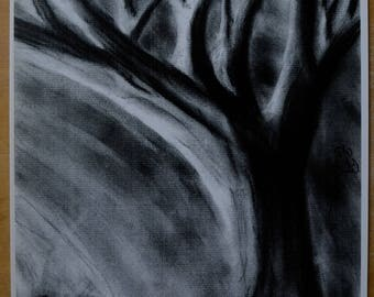 Original Art Print, What the Light Reveals, Haunting Tree, Haunted Forest, Dark Surrealism,