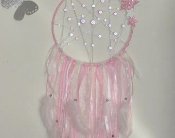 Dream catcher, pastel pink, White Pearl, with stars, glitter, magic beads, feathers, stars, dreamcatcher,
