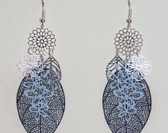 Leaf earrings, flowers, prints, bird, silver, sky blue, Navy Blue Earrings, dangle earrings, fine jewelry earrings