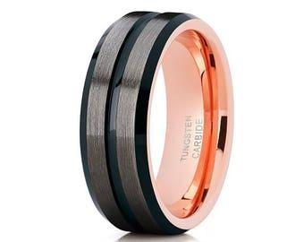 Rose Gold Tungsten Wedding Band 8mm & 6mm Black Tungsten Wedding Band Grey Tungsten Ring Engagement Ring