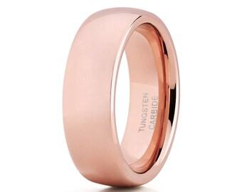 Rose Gold Tungsten Wedding Band Shiny Polish Men & Women Rose Gold Tungsten Wedding Ring Dome Tungsten Ring