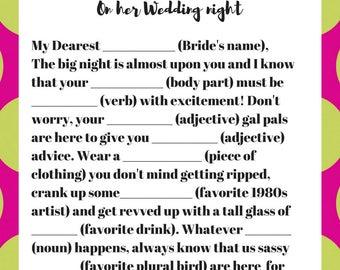 Wedding Night Bride Mad Lib Printable Digital Download