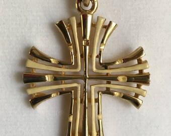 Vintage PLO Necklace Gold Tone Large Cross Shape Pendant