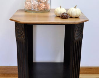 Art deco black pedestal and wood
