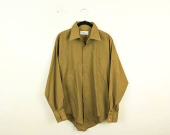 "Vintage 1950s Kmart Men's Permanent Press Collared Shirt / Large / Pocket / Short Fit / Brown / Collar / 65 Cotton 35 Polyester / 16"" Neck /"