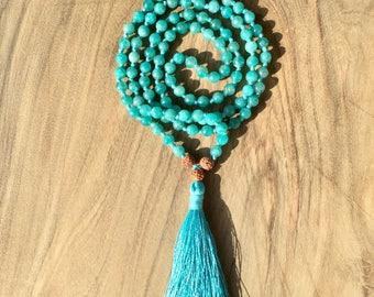 Necklace Mala 108 beads amazonite and rudraksha 6 mm, Hindu/Buddhist necklace for yoga and meditation