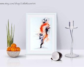 Abstract fox watercolor print, animal art, original work, wall decor, into the wild, birthday present, nature art