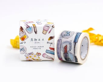 Makeup Washi Tape, Makeup Tools Washi Tape, Beauty Washi Tape, Cosmetic Washi Tape, Makeup Washi Tape, Makeup Stationery, Fashion Stationery