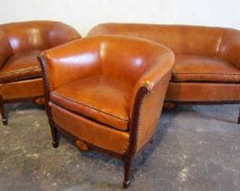 Lounge art deco leather