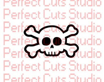 Skull and Crossbones SVG and Studio3 Cut File - Cutouts Downloads Cut File Decal Decals Logo - Silhouette Studio - Halloween Cricut File