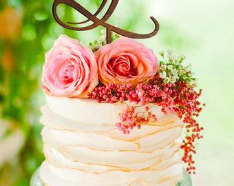 Letter L Cake topper silver Gold Monogram Wedding Cake Topper Initials Cake Topper Personalised  cake topper letter L K N cake topper wooden