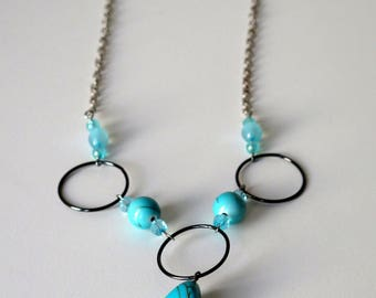 Matinee length necklace with turquoise pendant and silver cable chain, 56cm/22""