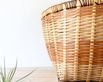 Woven Basket, Vintage Basket, Wicker Basket, Bohemian Basket, Wicker Storage Basket
