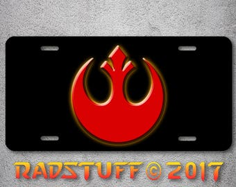 """Star Wars Rebel Alliance Emblem Red Gold Black Aluminum Novelty License Plate 6""""x12"""""""