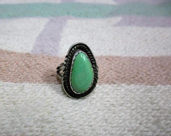 Native American Vintage Sterling Silver And Turquoise Ring Size 7.5 Signed